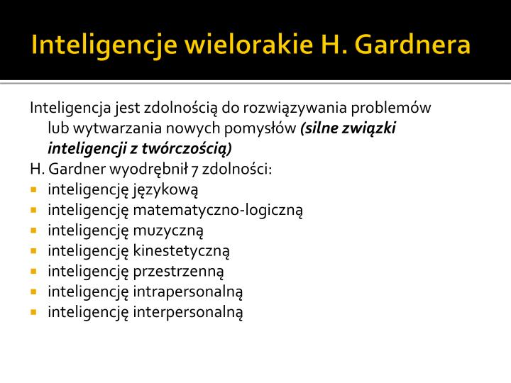 Inteligencje wielorakie H. Gardnera