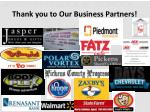 thank you to our business partners