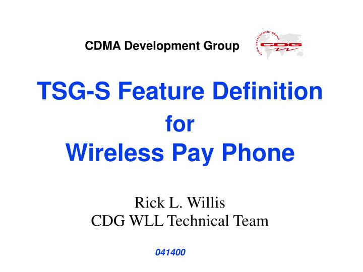 tsg s feature definition for wireless pay phone n.