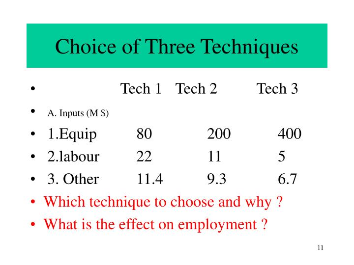 Choice of Three Techniques