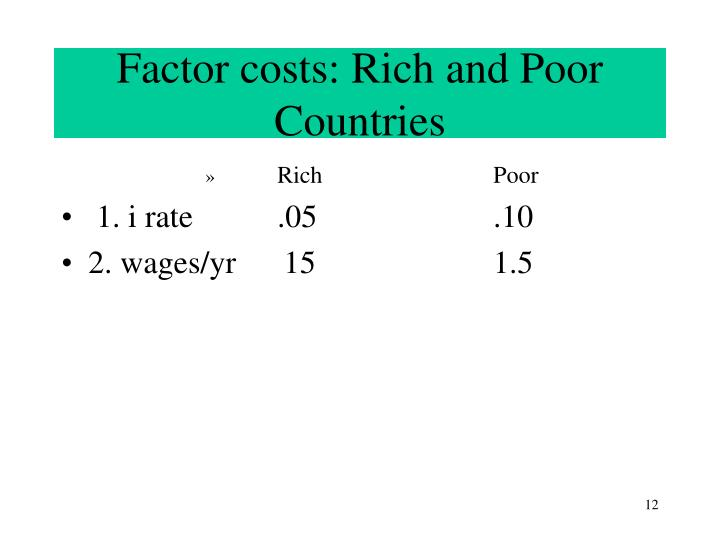 Factor costs: Rich and Poor Countries