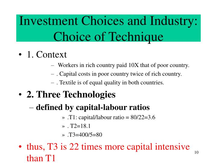 Investment Choices and Industry: Choice of Technique