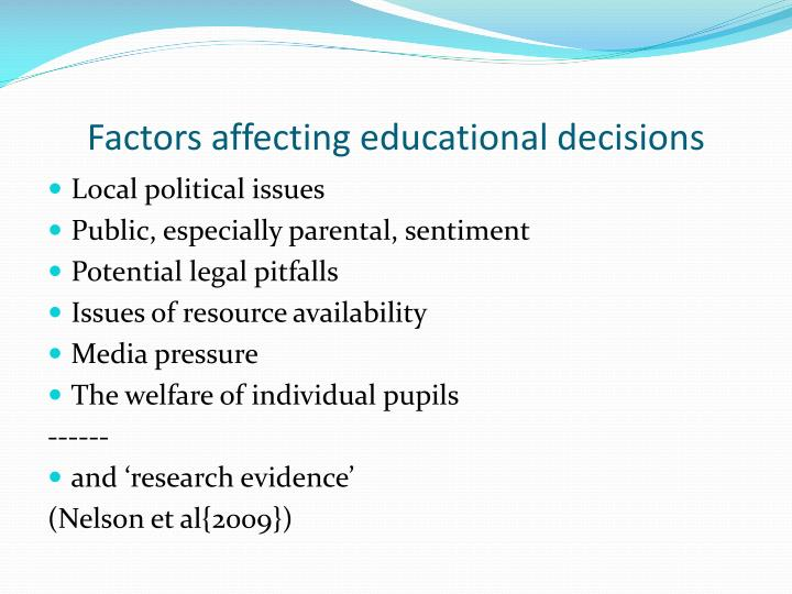 Factors affecting educational decisions
