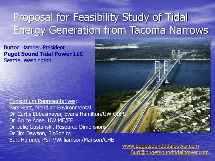 Proposal for feasibility study of tidal energy generation from tacoma narrows