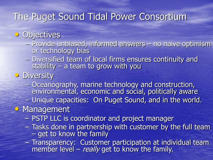 The Puget Sound Tidal Power Consortium