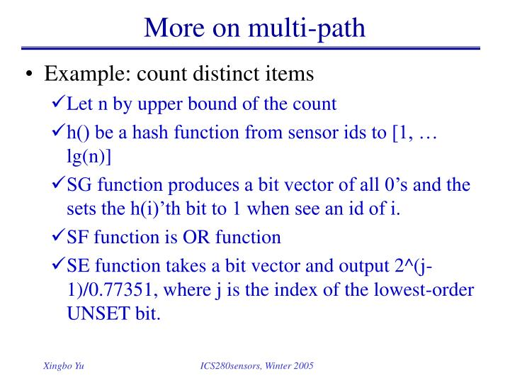 More on multi-path