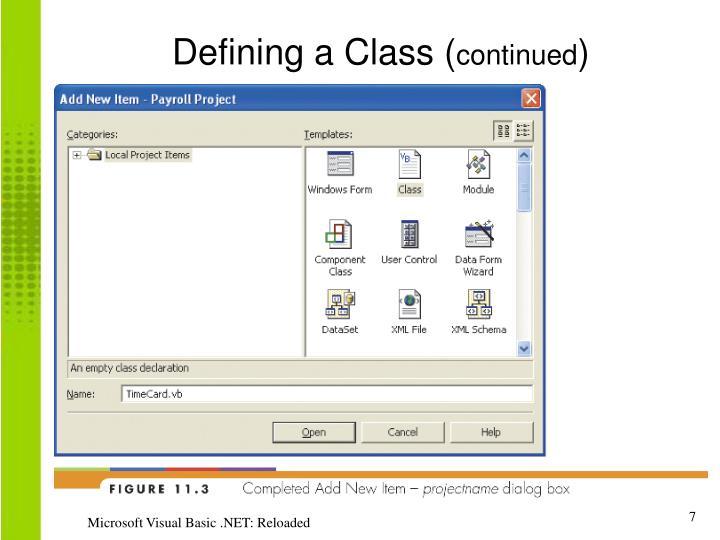 Defining a Class (