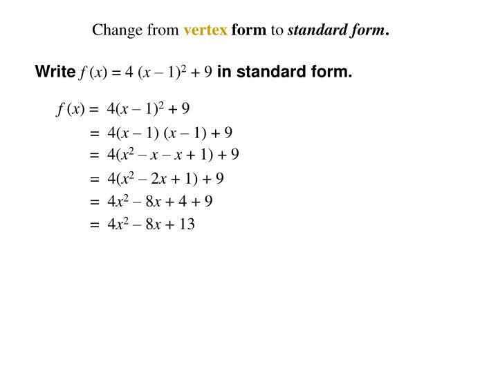 Ppt Graph Each Function Label The Vertex And Axis Of Symmetry