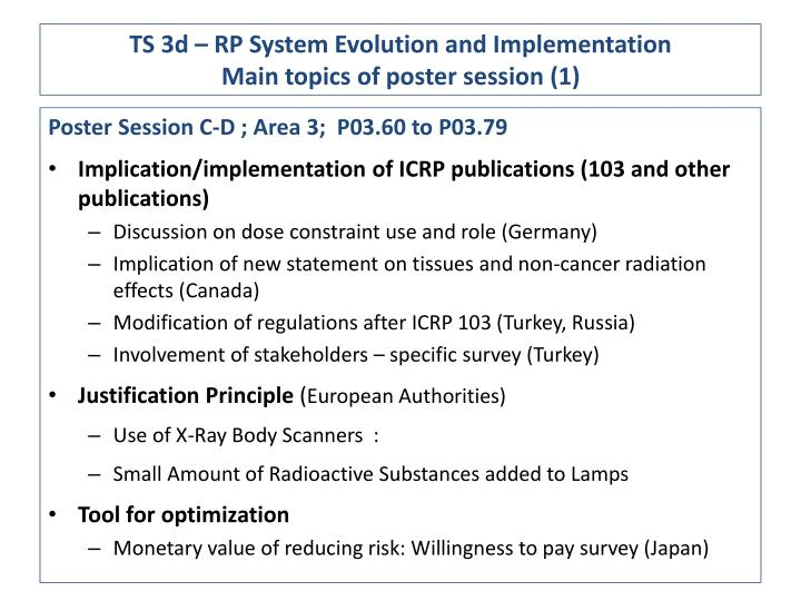 Ts 3d rp system evolution and implementation main topics of poster session 1