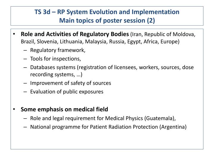 Ts 3d rp system evolution and implementation main topics of poster session 2
