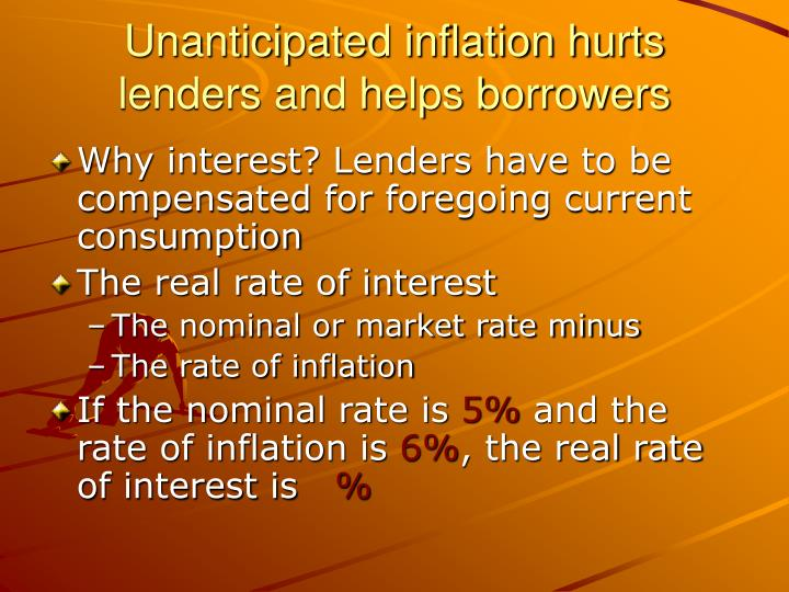 Unanticipated inflation hurts lenders and helps borrowers
