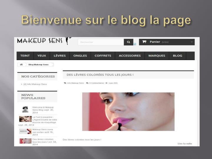 Bienvenue sur le blog la page