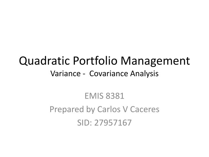 portfolio management calculation of variance of Ucits financial derivative instruments and efficient portfolio management- august 2017 6 global exposure 4 the calculation of the.