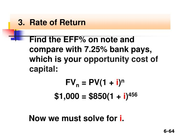 3.  Rate of Return