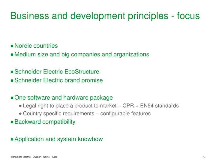 Business and development principles focus