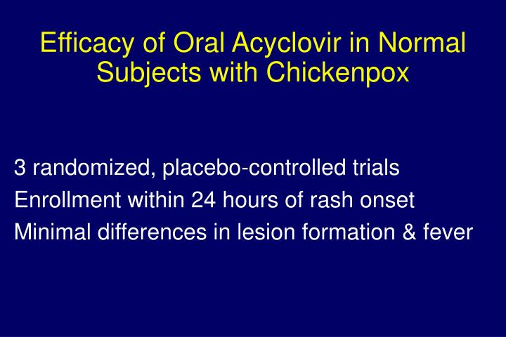 Efficacy of Oral Acyclovir in Normal Subjects with Chickenpox