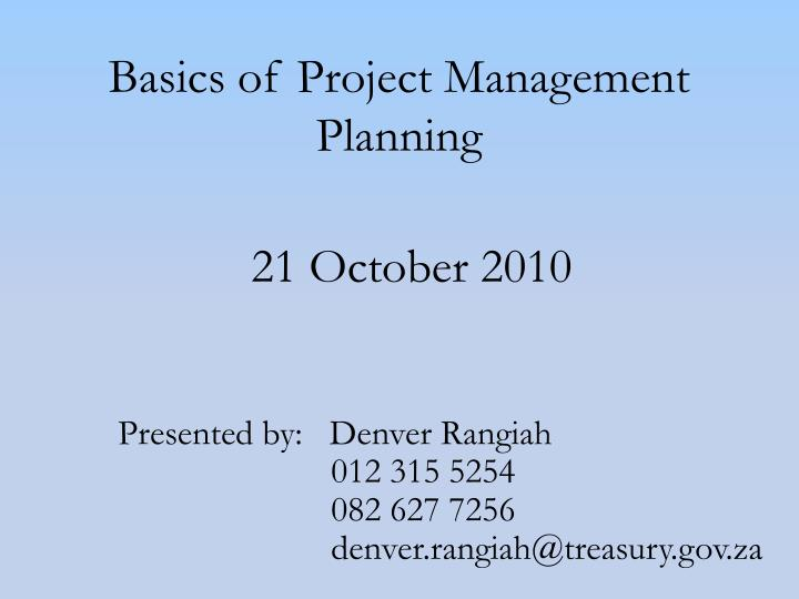 basics of project management planning n.
