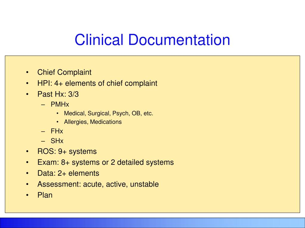 Chief Complaint Documentation Requirements