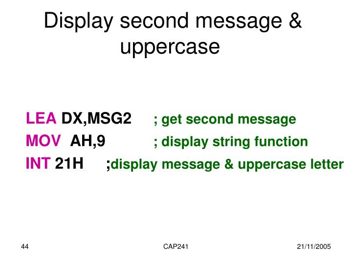 Display second message & uppercase