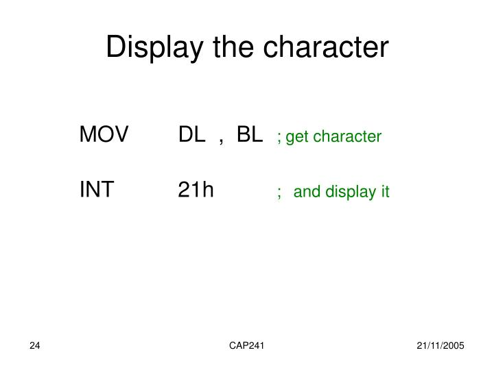 Display the character