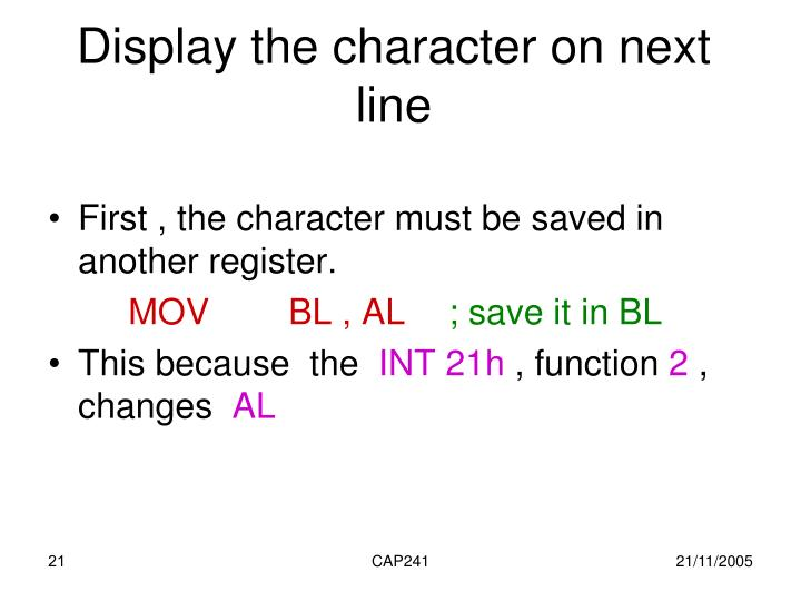 Display the character on next line