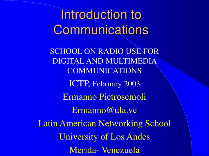 introduction to communications n.