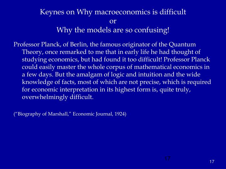 Keynes on Why macroeconomics is difficult