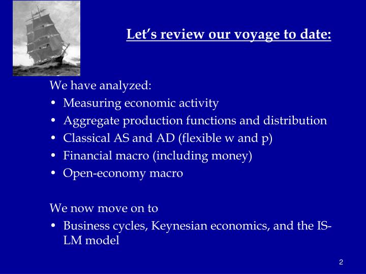 Let s review our voyage to date