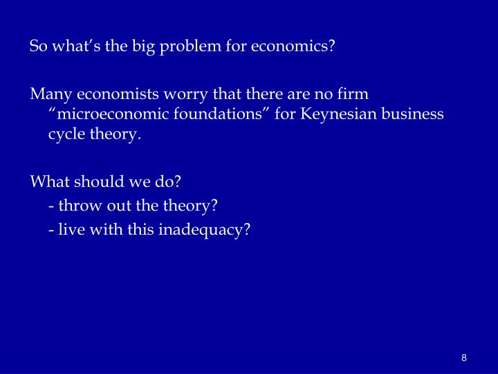 So what's the big problem for economics?