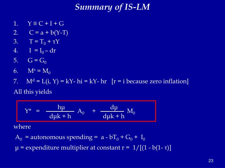 Summary of IS-LM