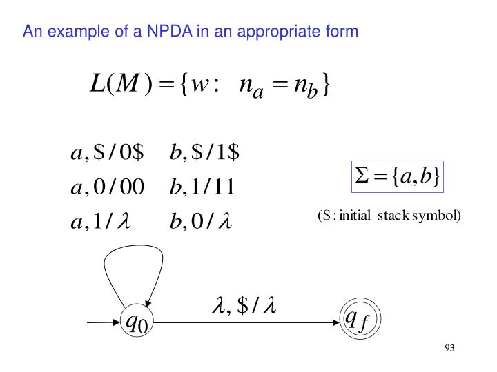An example of a NPDA in an appropriate form