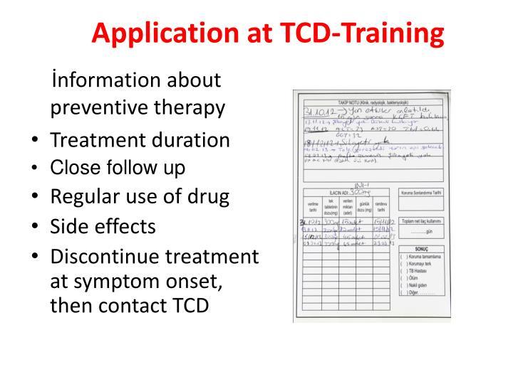 Application at TCD-Training