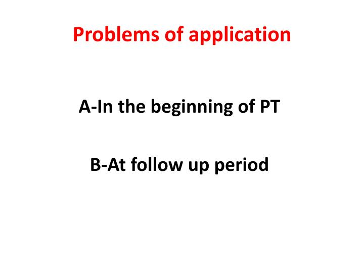 Problems of application