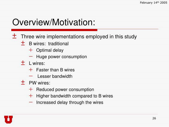 Overview/Motivation: