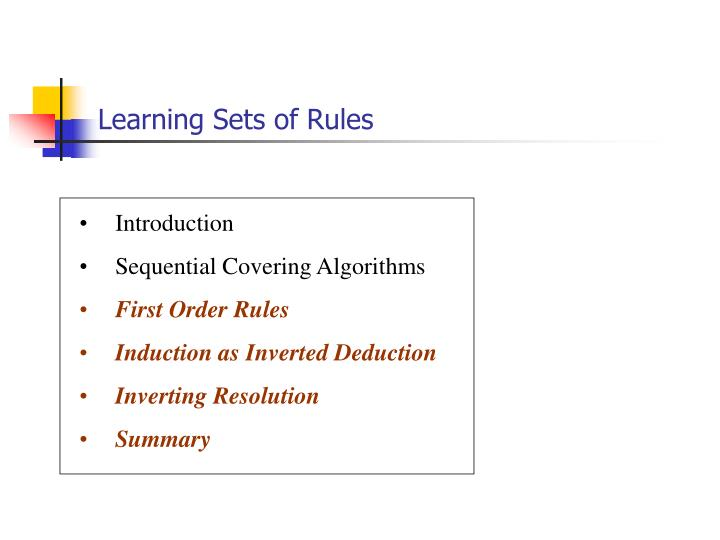 learning sets of rules n.