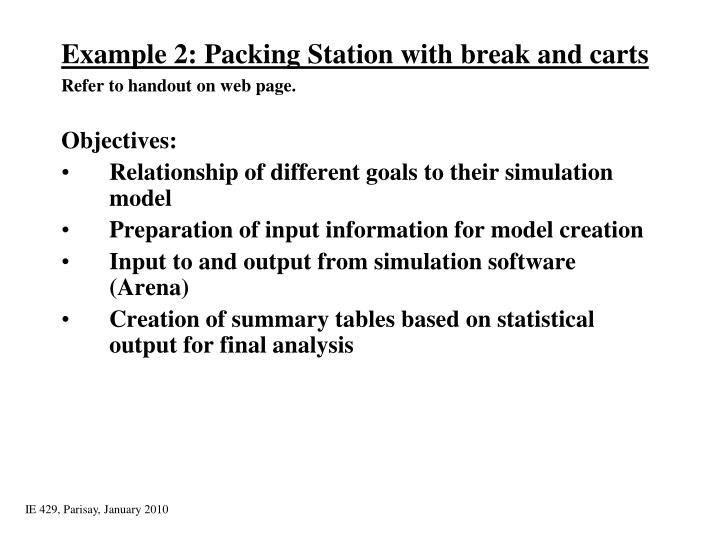 Example 2: Packing Station with break and carts