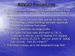 bingo procedures
