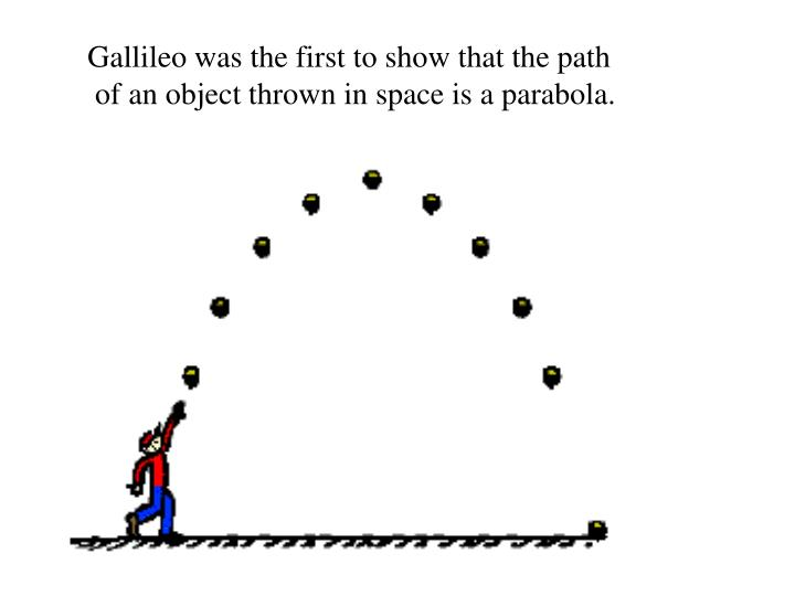 Gallileo was the first to show that the path
