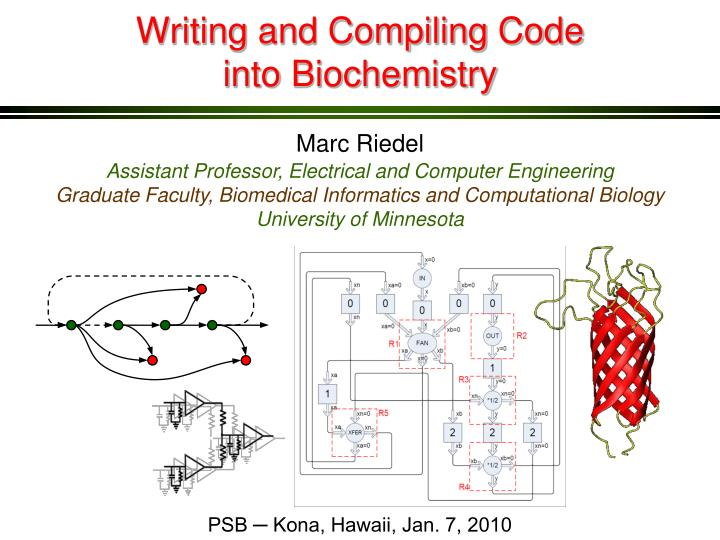 writing and compiling code into biochemistry n.