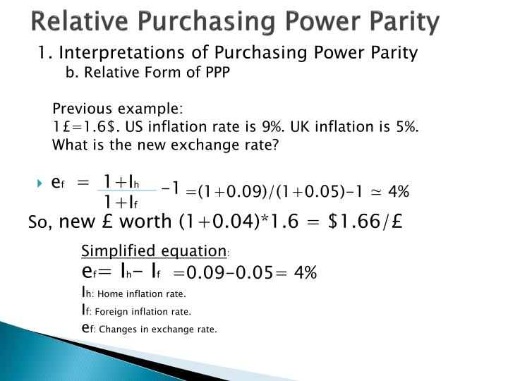 a discussion on purchasing power parity Purchasing power parity (ppp) is a theory of exchange rate determination and a way to compare the average costs of goods and services between countries the theory assumes that the actions of importers and exporters, motivated by cross country price differences, induces changes in the spot exchange rate.