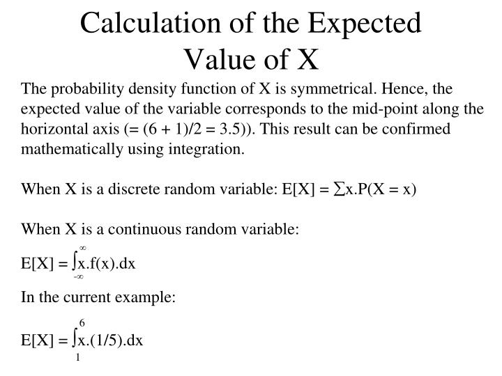 Calculation of the Expected Value of X