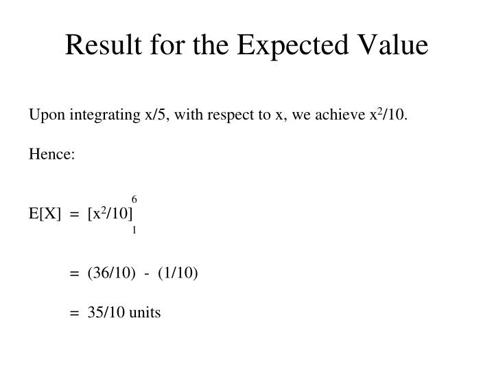 Result for the Expected Value