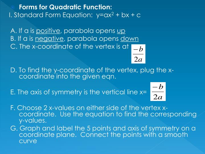 Forms for Quadratic Function: