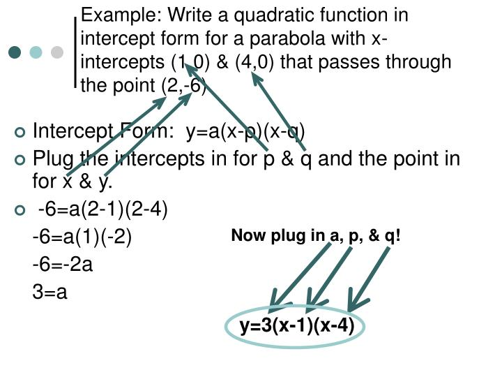 Example: Write a quadratic function in intercept form for a parabola with x-intercepts (1,0) & (4,0) that passes through the point (2,-6).
