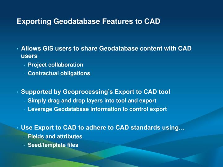 Exporting Geodatabase Features to CAD