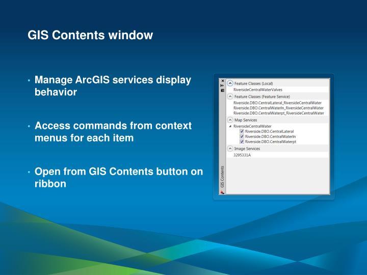 GIS Contents window
