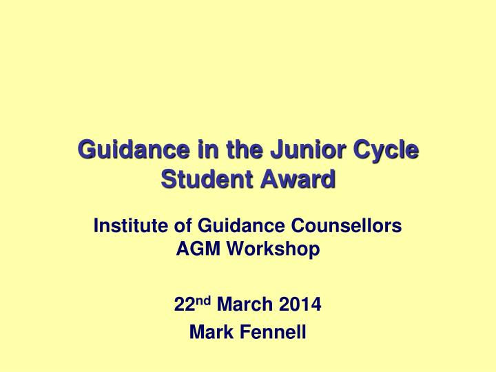 guidance in the junior cycle student award n.
