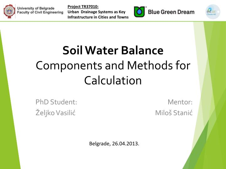 soil water balance components and methods for calculation n.