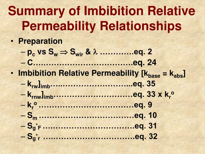 Summary of Imbibition Relative Permeability Relationships