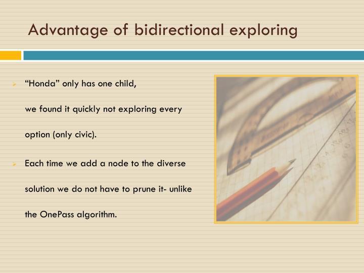 Advantage of bidirectional exploring